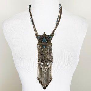 BOHO Chain & Stone Fringe Statement Necklace
